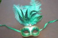 Green and Gold Tall Feather Mask